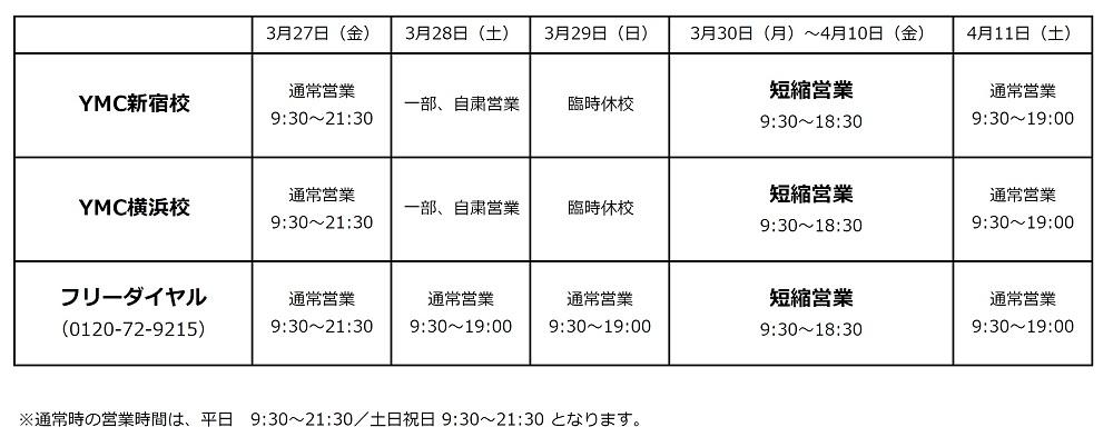 <お知らせ>YMC新宿校・横浜校・フリーダイヤル営業時間変更のお知らせ